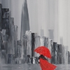 Lady in Red Dress and Red Umbrella Walking Alone through a Storm Lashed London Street