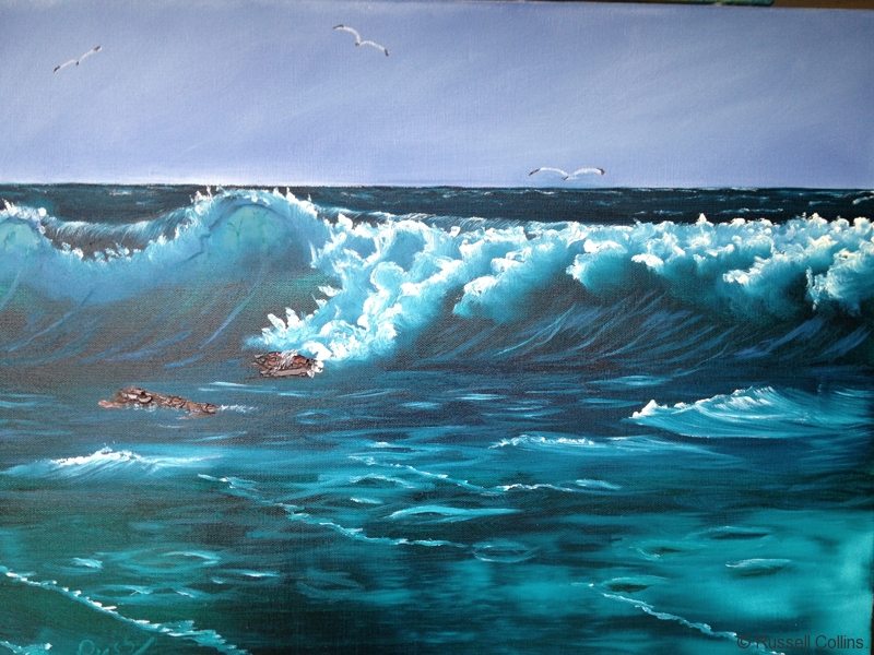 Bob ross lessons with russell collins russell collins art russell collins oil paint artist heavy breakers seascape the bob voltagebd Choice Image