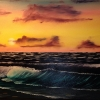 Seascape - Oil Art - Sunset Over The World - © Russell Collins