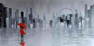 Lady In Red Dress Walking In London Cityscape Looking For A Government Art Subsidy - Make More Money From Art