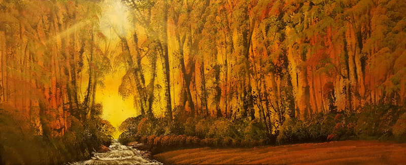 A Painting of hoew Park Wood As The Sun Goes Down