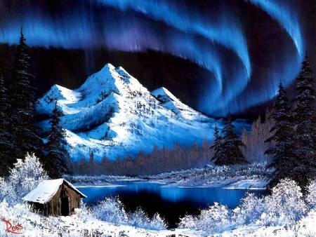 Picture of the Bob Ross Painting Northern Lights